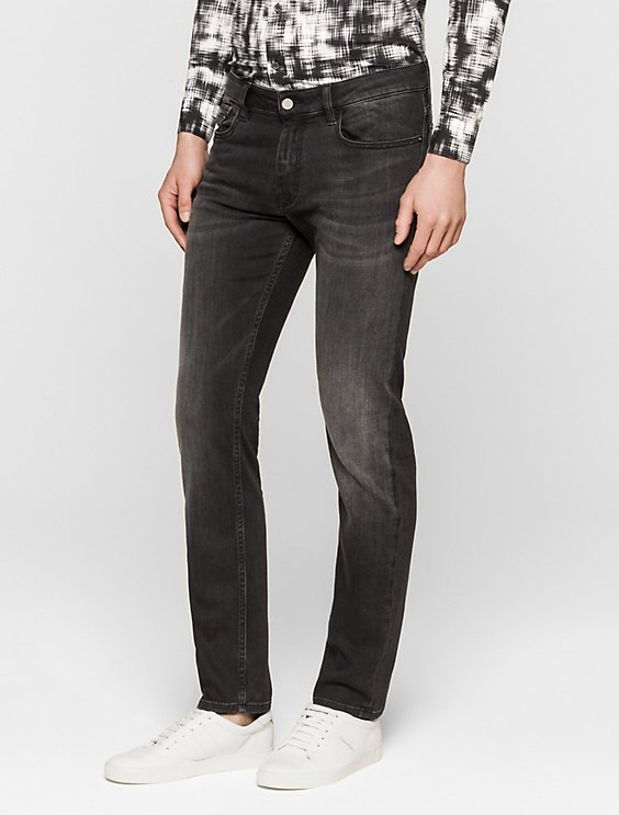 4dacfe5a5bec55 slim straight faded black jeans | Calvin Klein