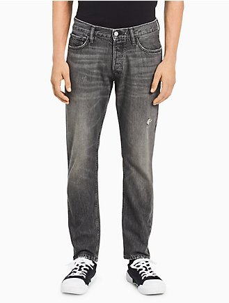 Calvin Klein Men's Straight Tapered Faded Grey Jeans