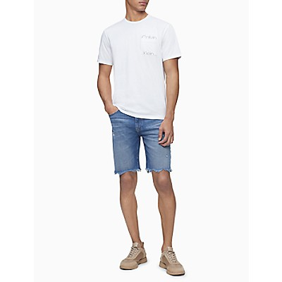 Straight Fit Coney Island Blue Denim Distressed Shorts