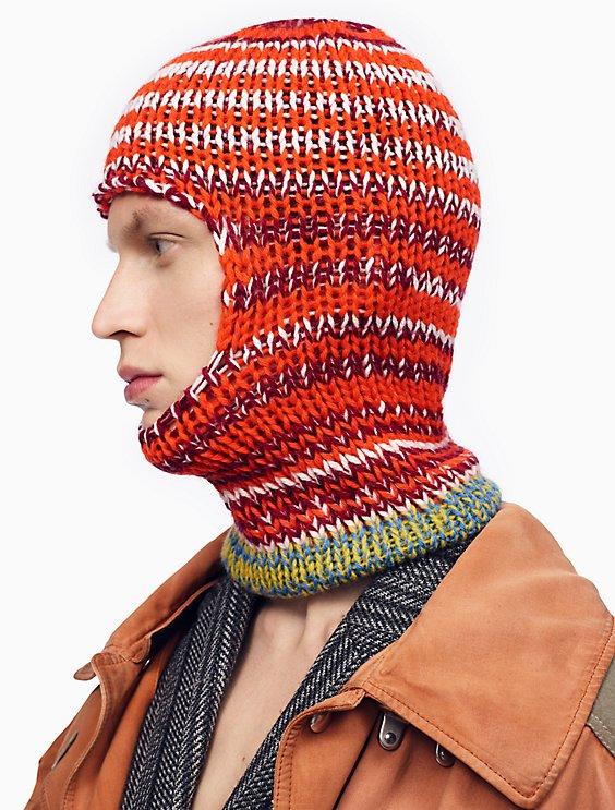 Reverse Striped Knit Balaclava Calvin Klein