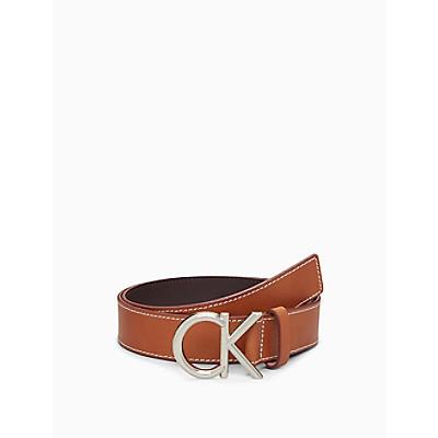 CK Logo Plaque Stitched Belt