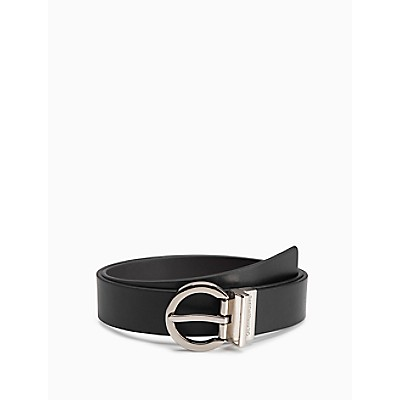 Reversible Leather Round Buckle Belt