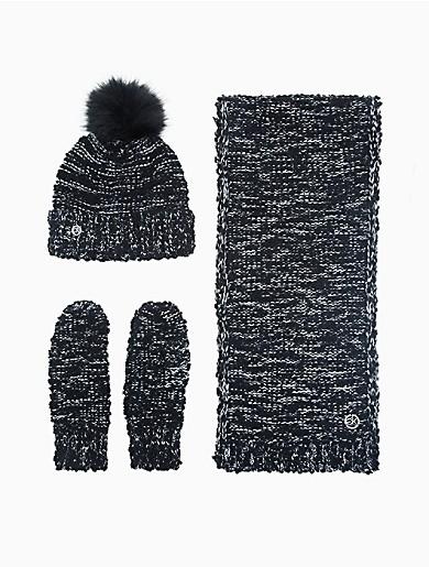 Image of Textured Boucle Lurex Knit 3-Piece Set