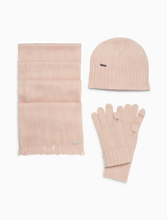 3-piece solid knit hat 2f2acaf79c0
