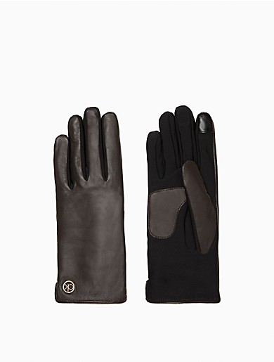 Image of Mixed Media Leather Gloves