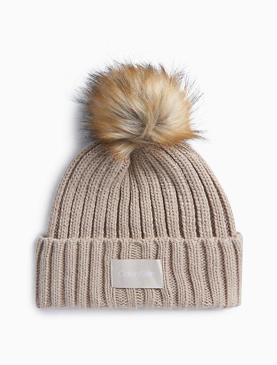 2f9014cd Price as marked ribbed logo faux fur pom-pom hat