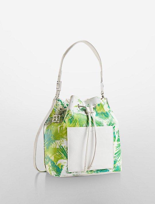 foto de hailey palm tree convertible drawstring bucket bag   Calvin Klein