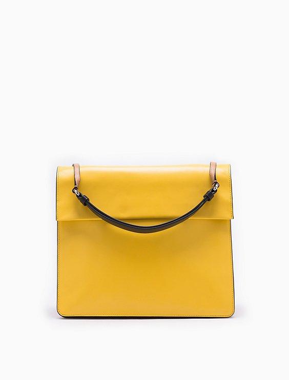 b7eef0625ab flared leather shoulder bag | Calvin Klein