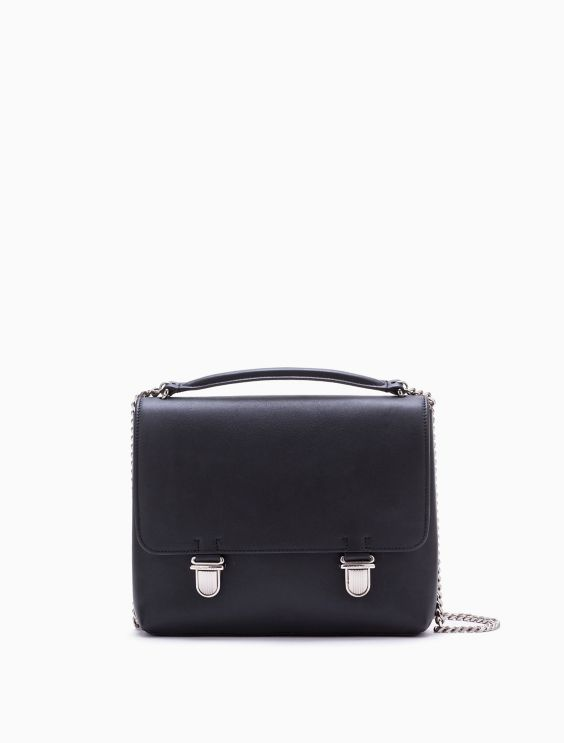 Sculpted Leather Flap Briefcase by Calvin Klein