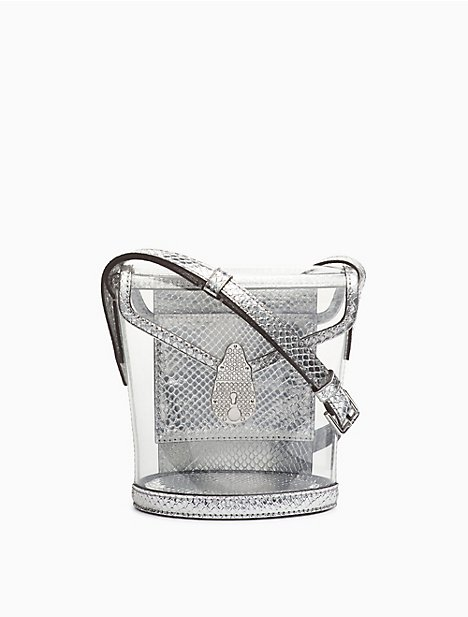 Lock Transparent Rhinestone Mini Bucket Bag by Calvin Klein