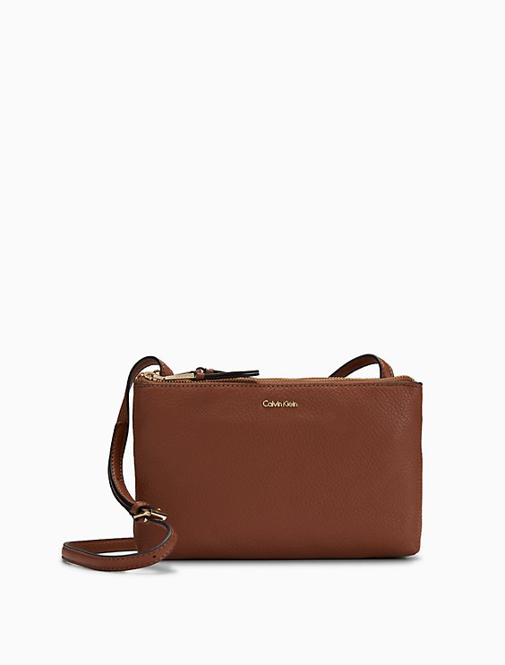 Clearance leather dual zip crossbody bag