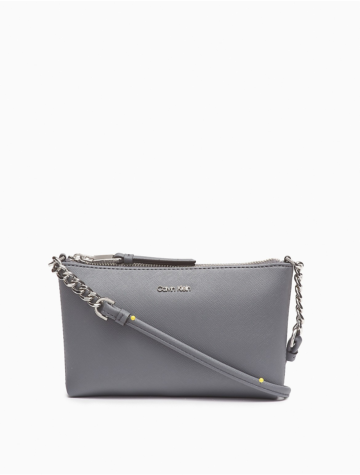 Saffiano Leather Chainlink Crossbody Bag