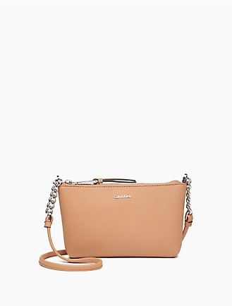b3f444544e73 saffiano leather chainlink crossbody bag