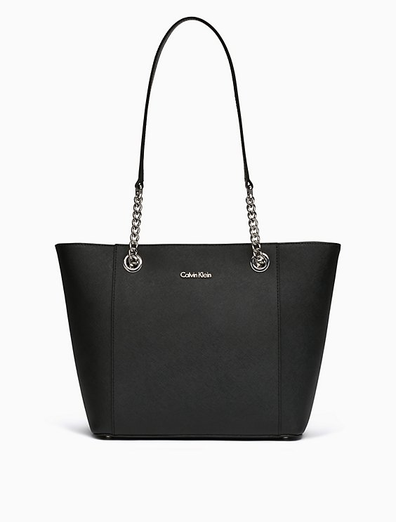 Saffiano Leather Chainlink Tote Bag