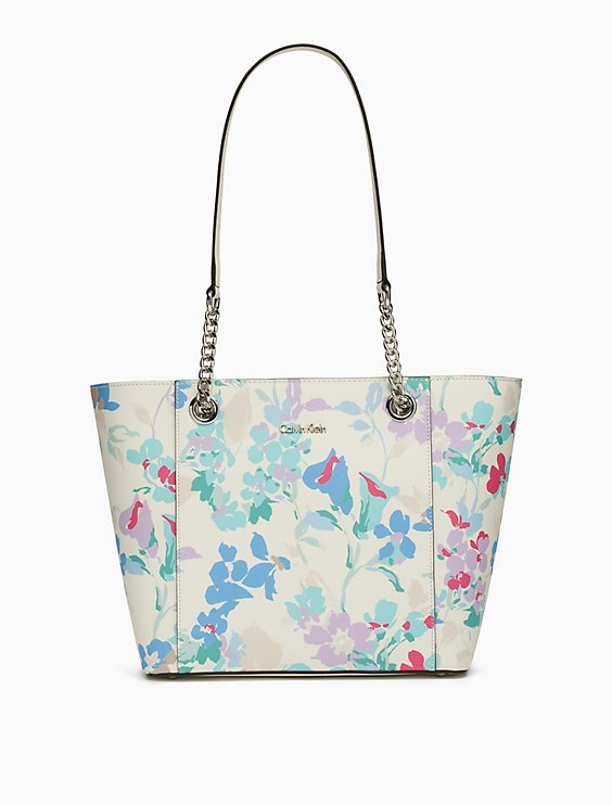 Clearance saffiano leather floral chainlink tote bag