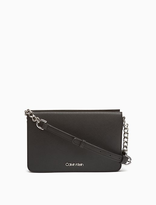 Saffiano Leather Zip Crossbody Bag