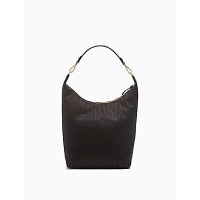 Elaine Monogram Logo Zip Medium Hobo Bag