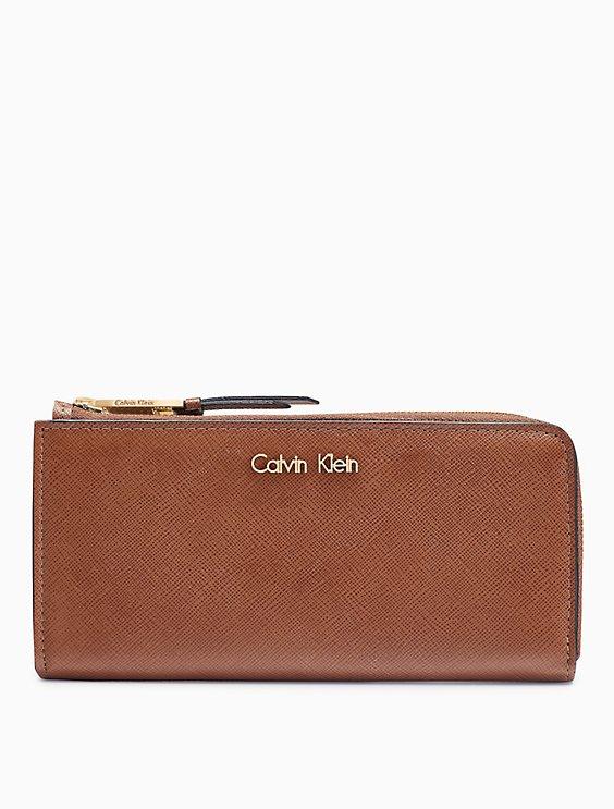 346caa1ede saffiano leather zip continental wallet | Calvin Klein