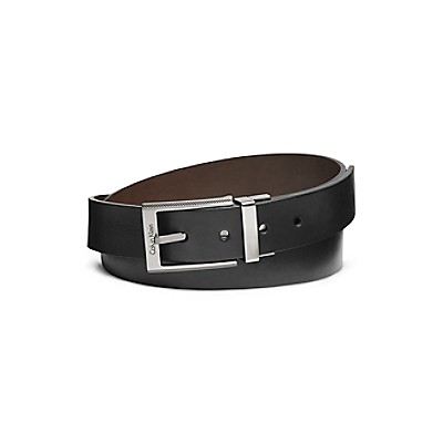 textured square buckle leather dress belt