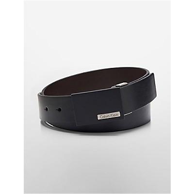 matte black plaque leather belt