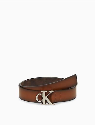 Image of Monogram Logo Leather Belt