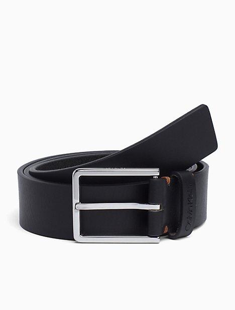 Leather Rectangular Buckle Belt by Calvin Klein