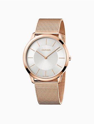 minimal rose gold mesh watch