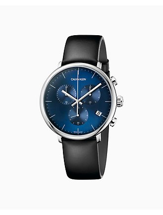 c7caf7b43 High Noon Black Leather Blue Dial Chronograph Watch