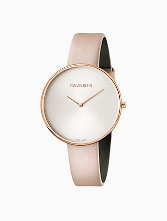 610744544 full moon leather rose gold watch