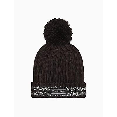 Striped Ribbed Pom-Pom Hat