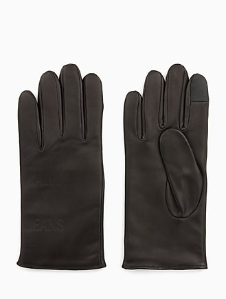 leather embossed logo gloves e79b878fc8ed