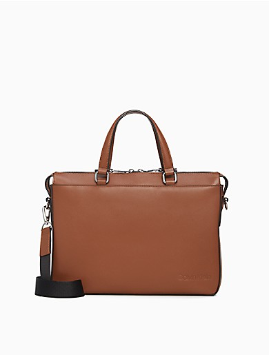 Image of Refined Leather Slim Briefcase