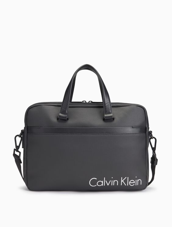 Coated Canvas Slim Laptop Bag by Calvin Klein