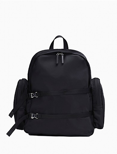 Image of Nylon Large Dual Zip Compartment Backpack