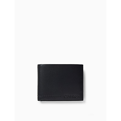 Leather Embossed Logo Bifold Wallet