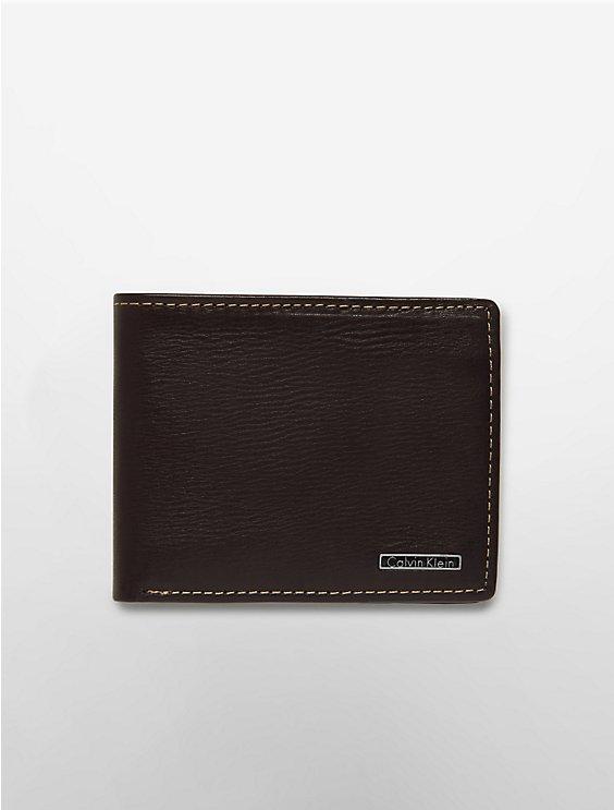 66521f4063c9a contrast stitch textured leather bifold wallet   Calvin Klein
