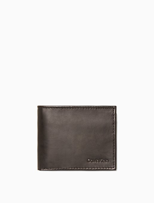 Mens Bifold Leather Wallet Front//Back 2 ID Center Flap with Secure Coin Pocket