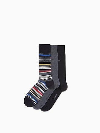 27033ac590ac 3-Pack Multistripe + Solid Socks
