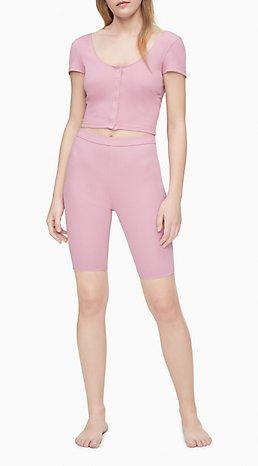 Calvin Klein Solid Ribbed Sleep Shorts