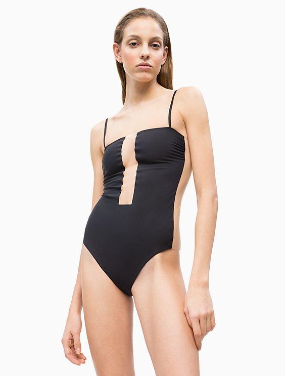 2bfd56d2bd5fe Black Illusion Bandeau One-Piece Swimsuit | Calvin Klein
