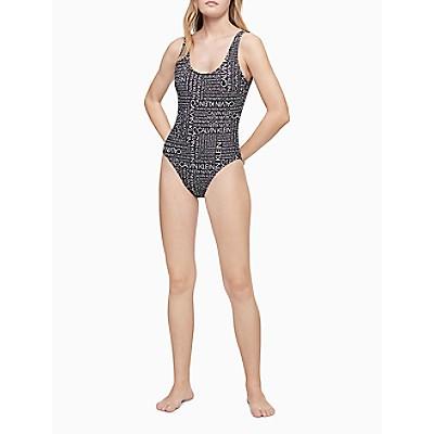 Logo Tape Halter Neck One-Piece Swimsuit