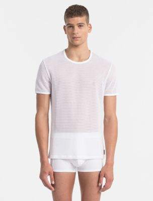body mesh crewneck t-shirt