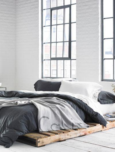 Modern Cotton Body Duvet Cover In Charcoal Calvin Klein
