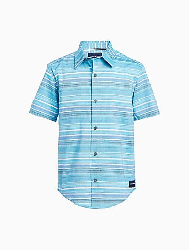 With vibrant, colorful stripes and ready for the sun, this boys short sleeve shirt is a perfect warm weather design. Features a point collar, button closures and a woven logo patch.