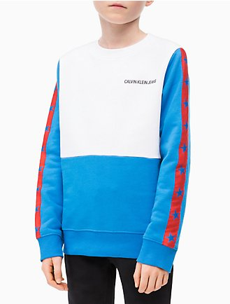 90e58aa2b3249 Boys Colorblock Stripe Logo Sweatshirt