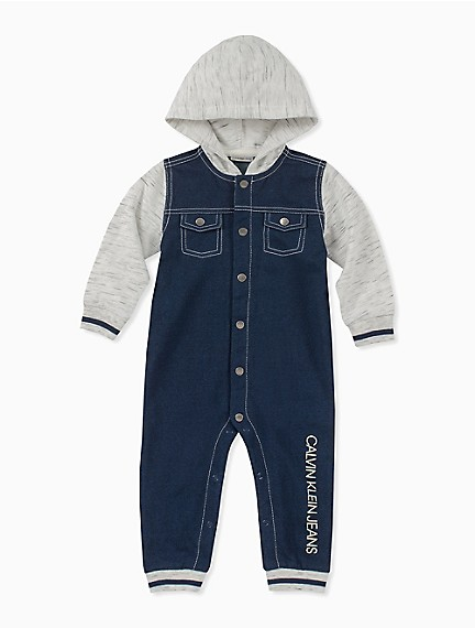 4125064662b4 Baby Boy Colorblock Hooded Coveralls