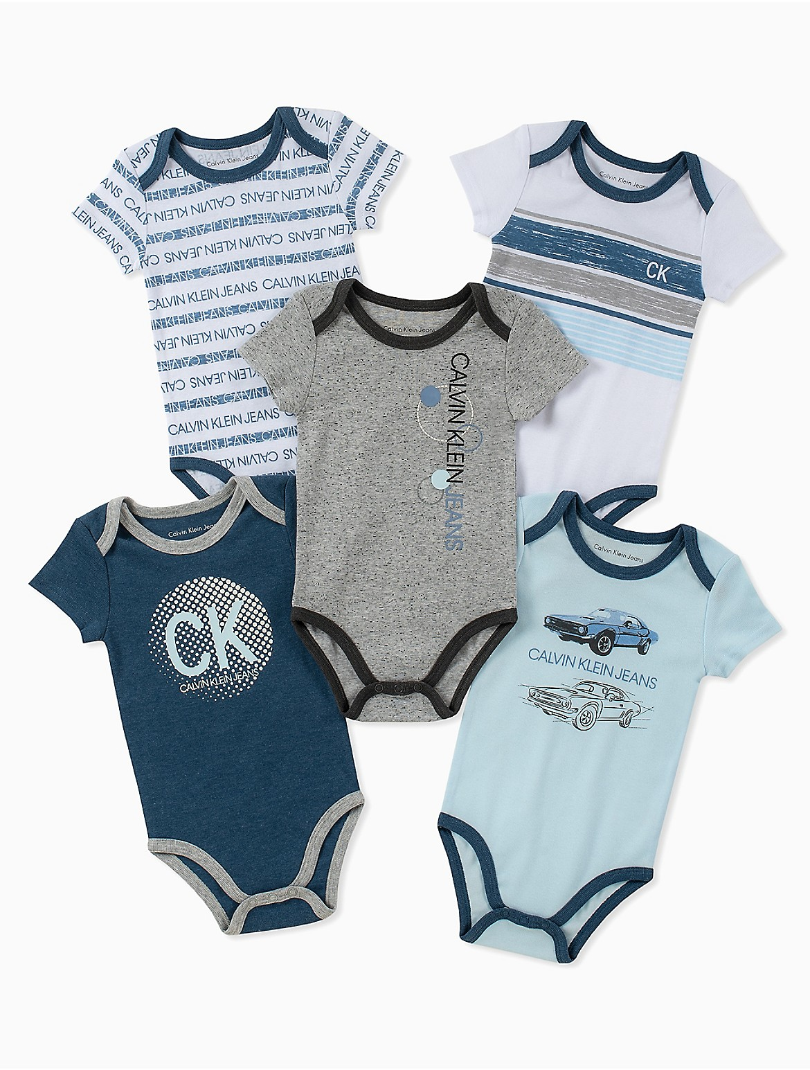 6083522ac4 Baby Boys 5-Pack Assorted Car Logo Short Sleeve Onesies