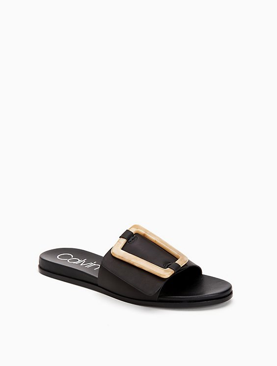 Calvin Klein Leather Crossover Sandals Outlet Ebay Cheap Sale Free Shipping Clearance Pre Order N79OHNn37