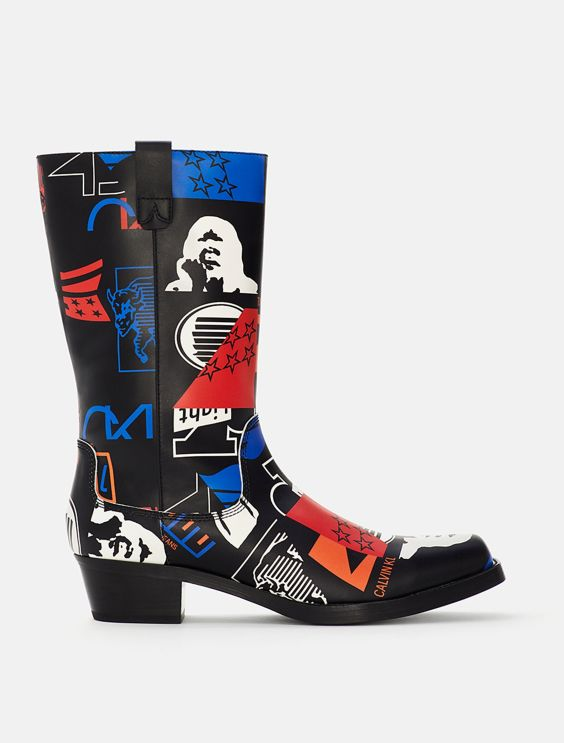Graphic Leather Boot by Calvin Klein