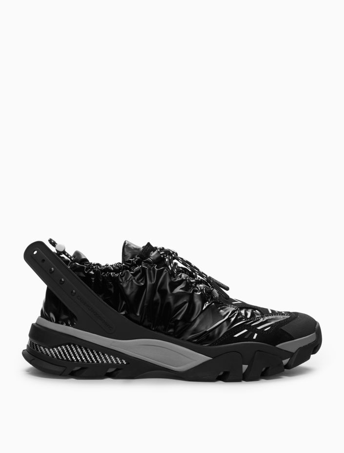 Drawcord Athletic Sneaker In Shiny Nylon + Nappa Leather by Calvin Klein